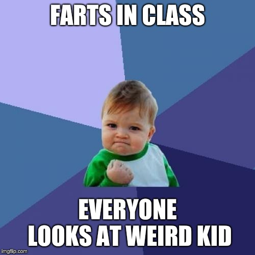 Success Kid Meme | FARTS IN CLASS EVERYONE LOOKS AT WEIRD KID | image tagged in memes,success kid | made w/ Imgflip meme maker