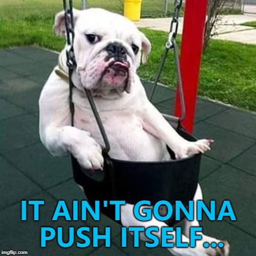 Doggo Week March 10-16 a Blaze_the_Blaziken and 1forpeace co-production... | IT AIN'T GONNA PUSH ITSELF... | image tagged in bulldog thug,memes,doggo week,dogs,animals | made w/ Imgflip meme maker