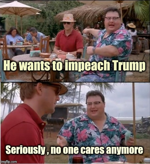 Nancy has dain bramage | He wants to impeach Trump Seriously , no one cares anymore | image tagged in memes,see nobody cares,nevertrump,sorry not sorry,politicians suck | made w/ Imgflip meme maker