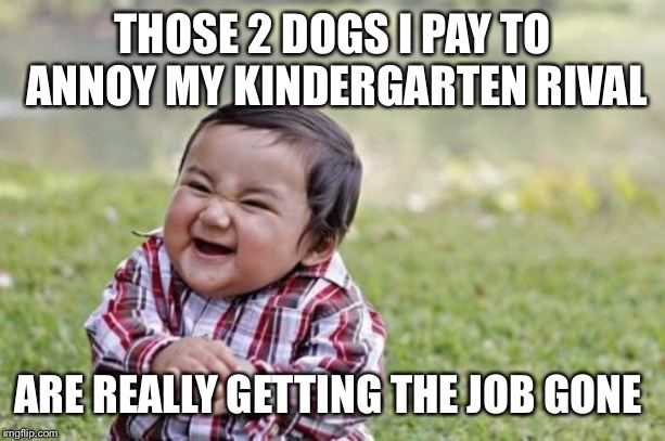 Evil Toddler Meme | THOSE 2 DOGS I PAY TO ANNOY MY KINDERGARTEN RIVAL ARE REALLY GETTING THE JOB GONE | image tagged in memes,evil toddler | made w/ Imgflip meme maker