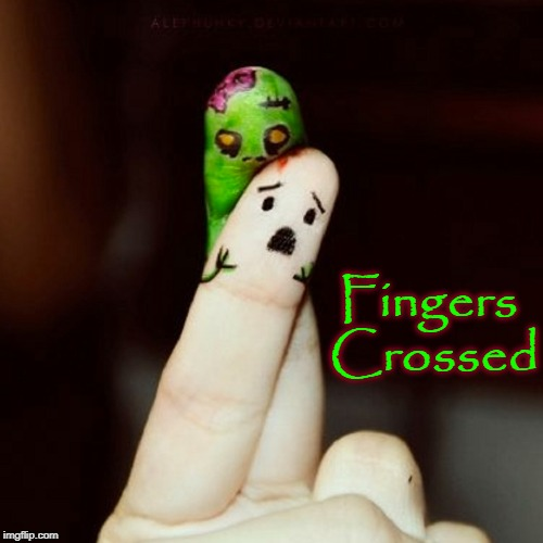 It doesn't do much good to cross your fingers if one is a zombie | Fingers Crossed | image tagged in vince vance,walking dead,fingers crossed,zombies,one finger eating the other,brains | made w/ Imgflip meme maker