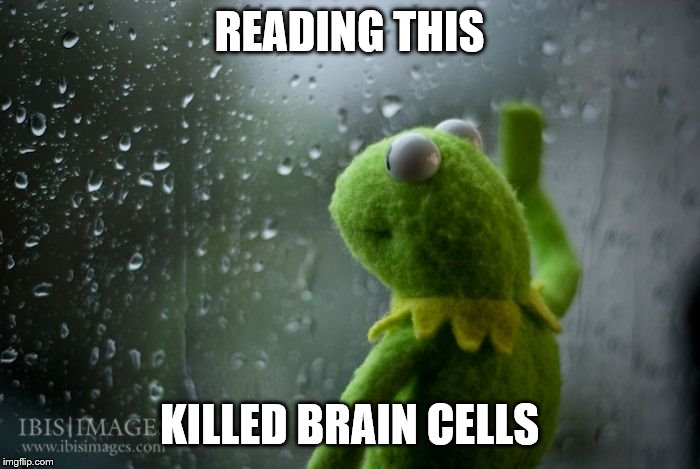 kermit window | READING THIS KILLED BRAIN CELLS | image tagged in kermit window | made w/ Imgflip meme maker