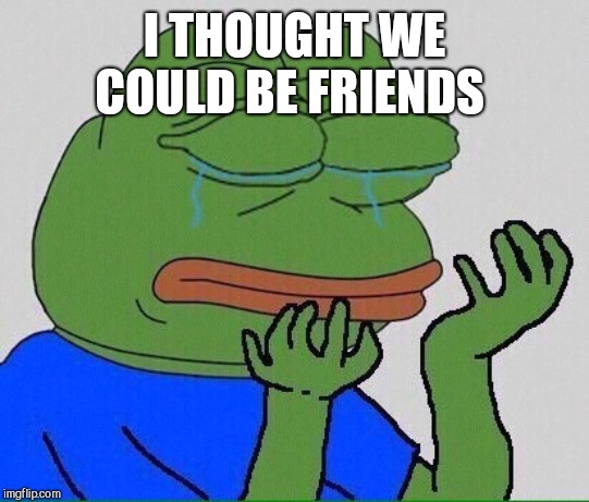 crying pepe | I THOUGHT WE COULD BE FRIENDS | image tagged in crying pepe | made w/ Imgflip meme maker
