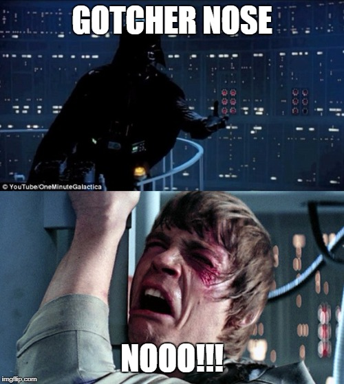 darth vader luke skywalker | GOTCHER NOSE NOOO!!! | image tagged in darth vader luke skywalker | made w/ Imgflip meme maker