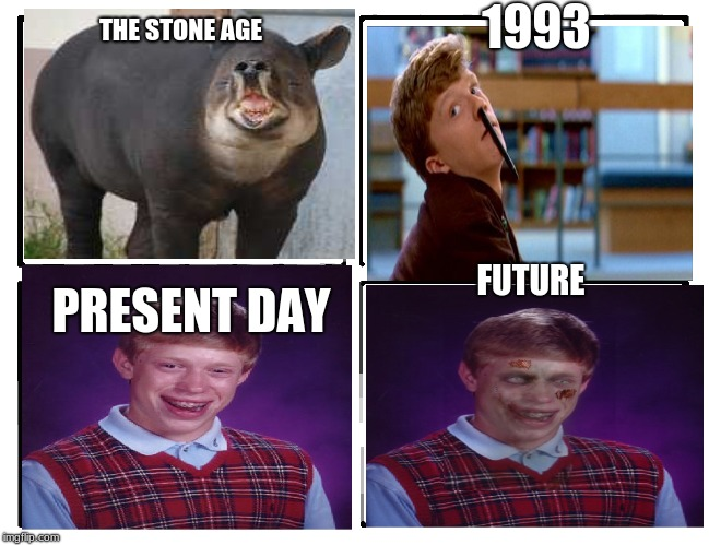 Bad luck brians hystory | 1993 THE STONE AGE PRESENT DAY FUTURE | image tagged in rage comic template | made w/ Imgflip meme maker