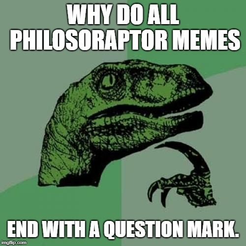 It's all about punctuation? |  WHY DO ALL PHILOSORAPTOR MEMES; END WITH A QUESTION MARK. | image tagged in memes,philosoraptor,punctuation | made w/ Imgflip meme maker