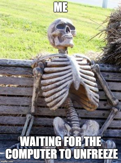 Waiting Skeleton | ME WAITING FOR THE COMPUTER TO UNFREEZE | image tagged in memes,waiting skeleton,computers | made w/ Imgflip meme maker