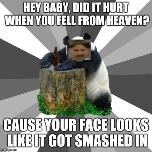 Pickup Line Panda |  HEY BABY, DID IT HURT WHEN YOU FELL FROM HEAVEN? CAUSE YOUR FACE LOOKS LIKE IT GOT SMASHED IN | image tagged in memes,pickup line panda | made w/ Imgflip meme maker