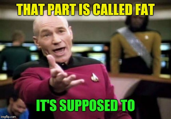 Picard Wtf Meme | THAT PART IS CALLED FAT IT'S SUPPOSED TO | image tagged in memes,picard wtf | made w/ Imgflip meme maker