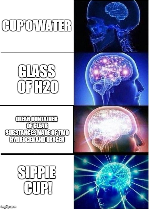 Expanding Brain Meme | CUP'O'WATER GLASS OF H2O CLEAR CONTAINER OF CLEAR SUBSTANCES MADE OF TWO HYDROGEN AND OXYGEN SIPPIE CUP! | image tagged in memes,expanding brain | made w/ Imgflip meme maker