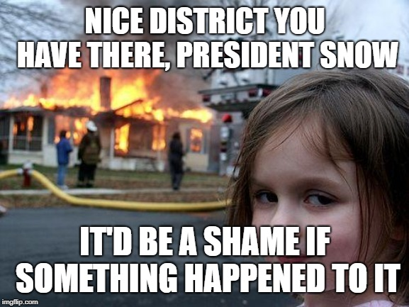 Disaster Girl Meme | NICE DISTRICT YOU HAVE THERE, PRESIDENT SNOW IT'D BE A SHAME IF SOMETHING HAPPENED TO IT | image tagged in memes,disaster girl | made w/ Imgflip meme maker