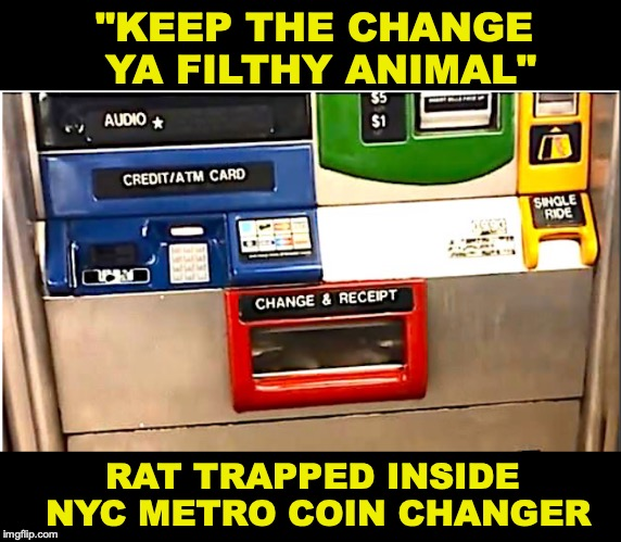 "Most Elaborate Fare-Beating Scheme Yet In NYC | ""KEEP THE CHANGE YA FILTHY ANIMAL"" RAT TRAPPED INSIDE NYC METRO COIN CHANGER 