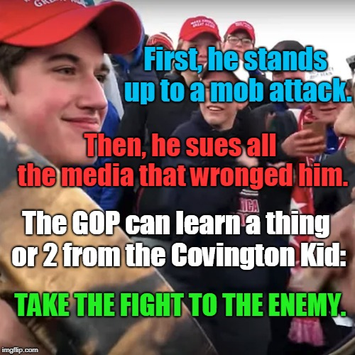 Stop Playing Defense. |  First, he stands up to a mob attack. Then, he sues all the media that wronged him. The GOP can learn a thing or 2 from the Covington Kid:; TAKE THE FIGHT TO THE ENEMY. | image tagged in covington,gop,strike first,strike hard,no mercy | made w/ Imgflip meme maker