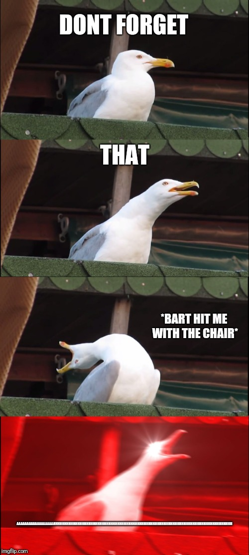 Inhaling Seagull Meme | DONT FORGET THAT *BART HIT ME WITH THE CHAIR* AAAAAAAAAAAAAAAAAAHHHHHHHHHHHHHHHHHHHHHHHHHHHHHHHHHHHHHHHHHHHHHHHHHHHHHHHHHHHHHHHHHHHHHHHHHHHH | image tagged in memes,inhaling seagull | made w/ Imgflip meme maker