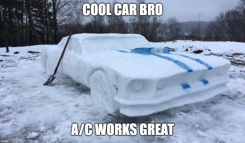 Cool car | COOL CAR BRO A/C WORKS GREAT | image tagged in cars,snow,frosty | made w/ Imgflip meme maker