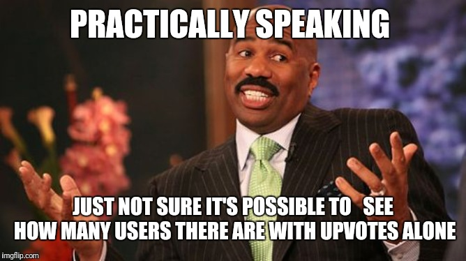 Steve Harvey Meme | PRACTICALLY SPEAKING JUST NOT SURE IT'S POSSIBLE TO   SEE HOW MANY USERS THERE ARE WITH UPVOTES ALONE | image tagged in memes,steve harvey | made w/ Imgflip meme maker