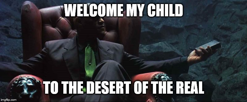 WELCOME MY CHILD TO THE DESERT OF THE REAL | made w/ Imgflip meme maker