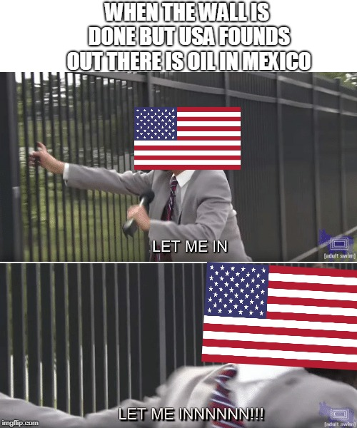 USA Oil Meme | WHEN THE WALL IS DONE BUT USA FOUNDS OUT THERE IS OIL IN MEXICO | image tagged in memes,usa,mexico,oil,let me in | made w/ Imgflip meme maker