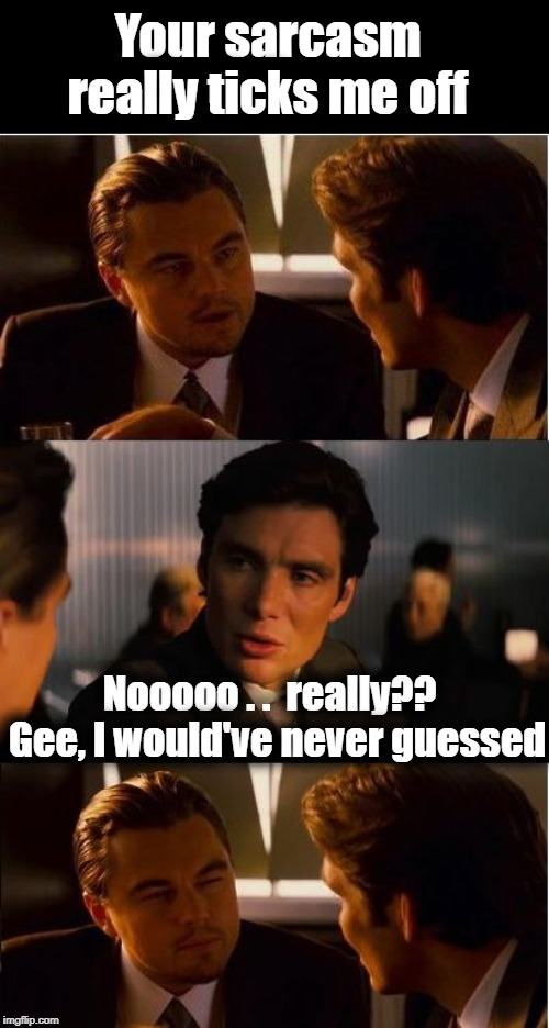 Heh Heh | Your sarcasm really ticks me off Nooooo . .  really??  Gee, I would've never guessed | image tagged in sarcasm,humour,lol,inception | made w/ Imgflip meme maker
