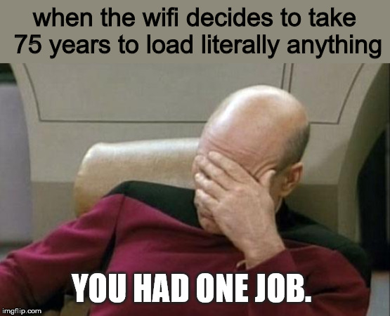 Captain Picard Facepalm Meme | when the wifi decides to take 75 years to load literally anything YOU HAD ONE JOB. | image tagged in memes,captain picard facepalm | made w/ Imgflip meme maker