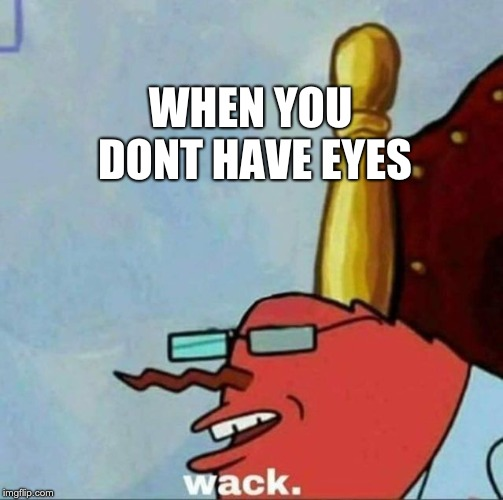 Mr Krabs wack | WHEN YOU DONT HAVE EYES | image tagged in mr krabs wack | made w/ Imgflip meme maker