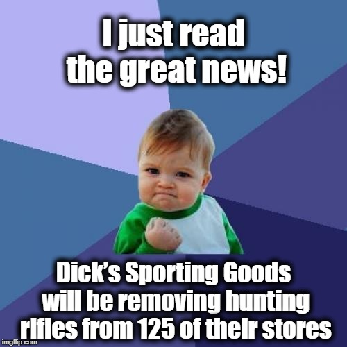 Let's hope others follow suit | I just read the great news! Dick's Sporting Goods will be removing hunting rifles from 125 of their stores | image tagged in success kid | made w/ Imgflip meme maker
