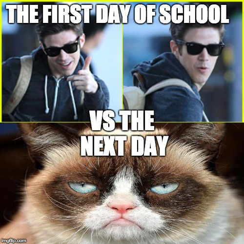 THE FIRST DAY OF SCHOOL VS THE NEXT DAY | image tagged in school | made w/ Imgflip meme maker