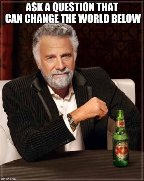 The Most Interesting Man In The World Meme | ASK A QUESTION THAT CAN CHANGE THE WORLD BELOW | image tagged in memes,the most interesting man in the world | made w/ Imgflip meme maker
