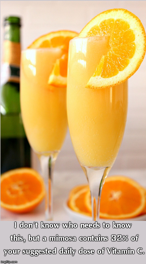 Mimosa for the win! | I don't know who needs to know this, but a mimosa contains 32% of your suggested daily dose of Vitamin C. | image tagged in drink,alcohol,orange,orange juice,champagne | made w/ Imgflip meme maker