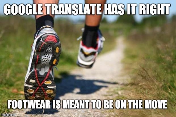 running shoes | GOOGLE TRANSLATE HAS IT RIGHT FOOTWEAR IS MEANT TO BE ON THE MOVE | image tagged in running shoes | made w/ Imgflip meme maker