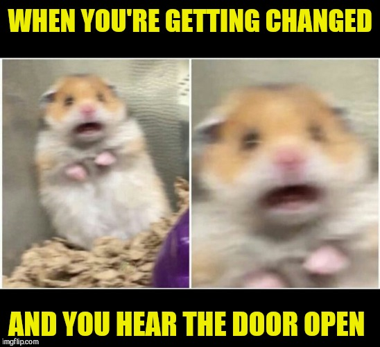 WHEN YOU'RE GETTING CHANGED AND YOU HEAR THE DOOR OPEN | image tagged in scared,get the hell out,knock for god sake | made w/ Imgflip meme maker
