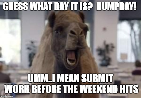 Hump Day Camel | GUESS WHAT DAY IT IS?  HUMPDAY! UMM..I MEAN SUBMIT WORK BEFORE THE WEEKEND HITS | image tagged in hump day camel | made w/ Imgflip meme maker