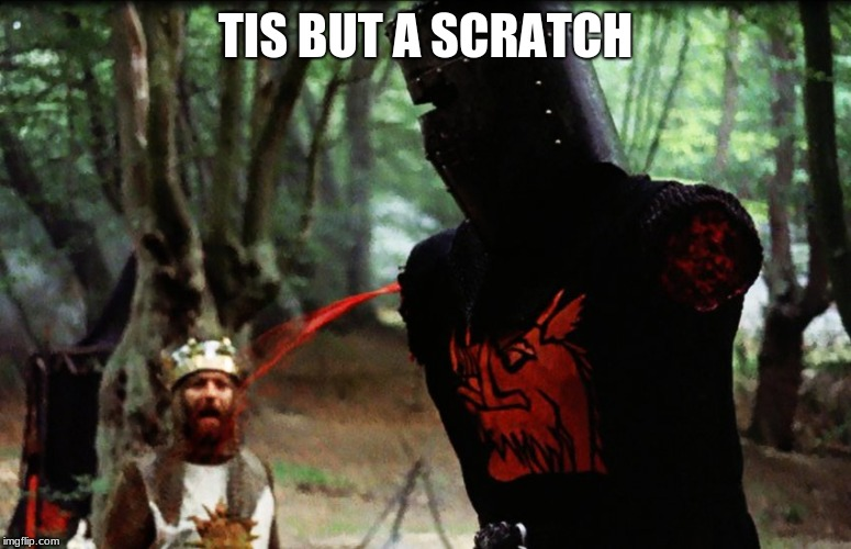 Monty Python Black Knight | TIS BUT A SCRATCH | image tagged in monty python black knight | made w/ Imgflip meme maker