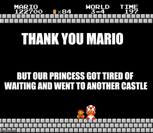 Thank You Mario | THANK YOU MARIO BUT OUR PRINCESS GOT TIRED OF WAITING AND WENT TO ANOTHER CASTLE | image tagged in thank you mario | made w/ Imgflip meme maker