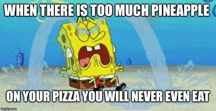 sad crying spongebob | WHEN THERE IS TOO MUCH PINEAPPLE ON YOUR PIZZA YOU WILL NEVER EVEN EAT | image tagged in sad crying spongebob | made w/ Imgflip meme maker