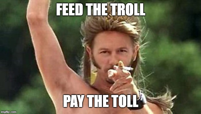 Joe Dirt | FEED THE TROLL PAY THE TOLL | image tagged in joe dirt | made w/ Imgflip meme maker