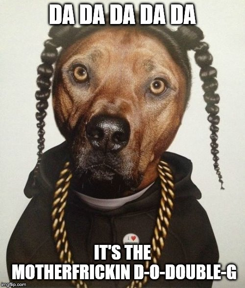 Snoop Doggo! |  DA DA DA DA DA; IT'S THE MOTHERFRICKIN D-O-DOUBLE-G | image tagged in doggo week,snoop dogg,claybourne | made w/ Imgflip meme maker