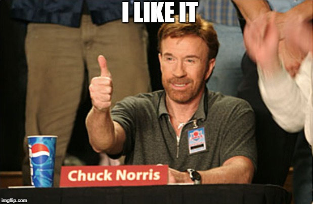 Chuck Norris Approves Meme | I LIKE IT | image tagged in memes,chuck norris approves,chuck norris | made w/ Imgflip meme maker