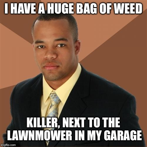 Successful Black Man | I HAVE A HUGE BAG OF WEED KILLER, NEXT TO THE LAWNMOWER IN MY GARAGE | image tagged in memes,successful black man | made w/ Imgflip meme maker