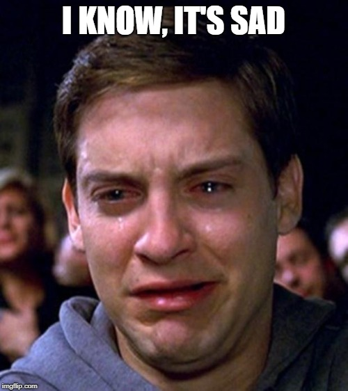 crying peter parker | I KNOW, IT'S SAD | image tagged in crying peter parker | made w/ Imgflip meme maker