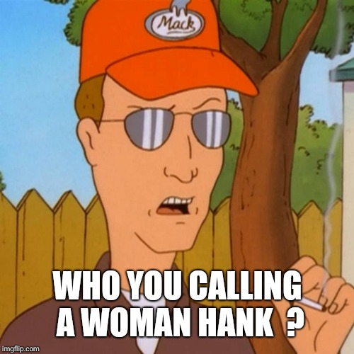 Dale Gribble | WHO YOU CALLING A WOMAN HANK  ? | image tagged in dale gribble | made w/ Imgflip meme maker