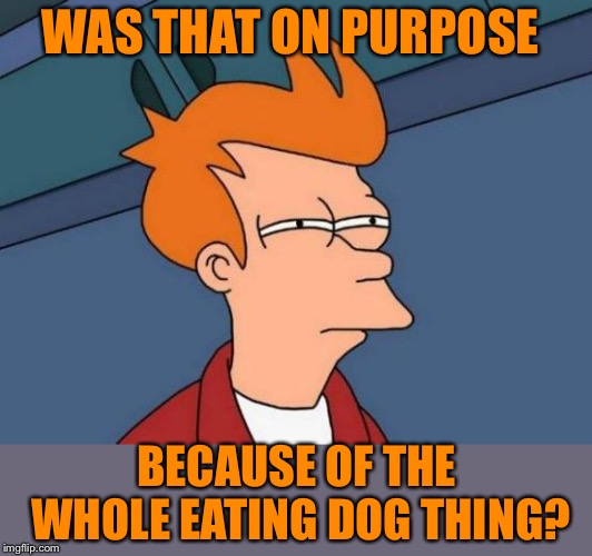Futurama Fry Meme | WAS THAT ON PURPOSE BECAUSE OF THE WHOLE EATING DOG THING? | image tagged in memes,futurama fry | made w/ Imgflip meme maker