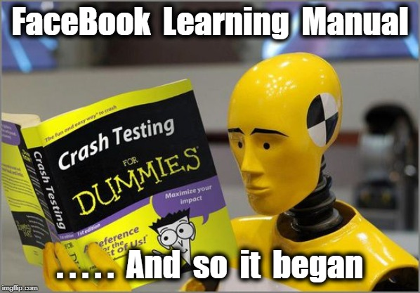 crash test dummies |  FaceBook  Learning  Manual; . . . . .  And  so  it  began | image tagged in crash test dummies | made w/ Imgflip meme maker