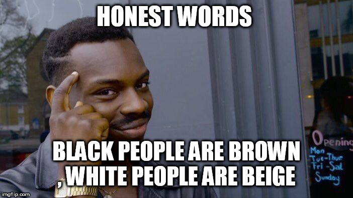 Roll Safe Think About It Meme | HONEST WORDS BLACK PEOPLE ARE BROWN , WHITE PEOPLE ARE BEIGE | image tagged in memes,roll safe think about it | made w/ Imgflip meme maker