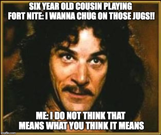 princess bride | SIX YEAR OLD COUSIN PLAYING FORT NITE: I WANNA CHUG ON THOSE JUGS!! ME: I DO NOT THINK THAT MEANS WHAT YOU THINK IT MEANS | image tagged in princess bride | made w/ Imgflip meme maker