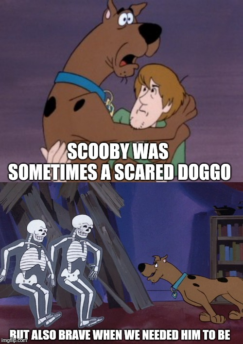 Scoobby doooby doo where are you? Doggo week 10-16 a Blaze_the_Blaziken and 1forpeace Event | SCOOBY WAS SOMETIMES A SCARED DOGGO BUT ALSO BRAVE WHEN WE NEEDED HIM TO BE | image tagged in scooby doo,memes,doggo week,dog,nostalgia | made w/ Imgflip meme maker
