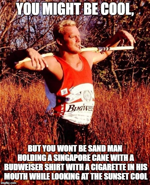 sandman cool meme | YOU MIGHT BE COOL, BUT YOU WONT BE SAND MAN HOLDING A SINGAPORE CANE WITH A BUDWEISER SHIRT WITH A CIGARETTE IN HIS MOUTH WHILE LOOKING AT T | image tagged in wrestling,pro wrestling,wwe,wwf,extreme sports,sports | made w/ Imgflip meme maker