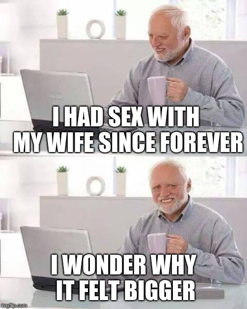 Harold needs to keep tabs | I HAD SEX WITH MY WIFE SINCE FOREVER I WONDER WHY IT FELT BIGGER | image tagged in memes,hide the pain harold,innuendo,adultery | made w/ Imgflip meme maker