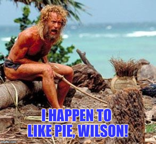 3.14 Happy Pi Day! | I HAPPEN TO LIKE PIE, WILSON! | image tagged in forest gump,pie | made w/ Imgflip meme maker