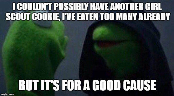 kermit me to me |  I COULDN'T POSSIBLY HAVE ANOTHER GIRL SCOUT COOKIE, I'VE EATEN TOO MANY ALREADY; BUT IT'S FOR A GOOD CAUSE | image tagged in kermit me to me | made w/ Imgflip meme maker